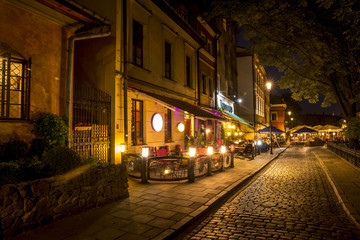 Jewish Quarter of the Kazimierz district in Krakow at night, Poland