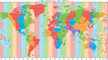 Vector detailed world map with time zones and countries