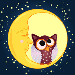 A sweet cartoon owl, with eyes drawn to the middle, sits on a drowsy crescent moon against the background of the night sky with stars