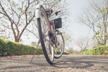 Bike in the park. Vintage tone.