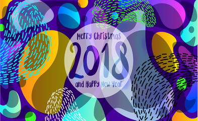 2018 Happy New Year Liquid color Background Seasonal Flyer and Greeting Card or Christmas themed invitation. Merry Christmas and Happy New Year. Trendy Modern Memphis style poster for web or card.