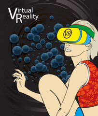 Fashion girl in virtual reality. Digital glasses. Woman in VR glasses for future, Interface technology, user experience.