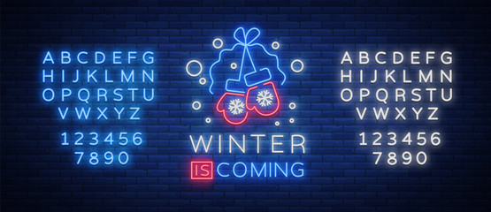 Winter is coming, a neon sign on Winter holidays. Bright neon sign, luminous banner. Vector illustration for your winter projects. Editing text neon sign. Neon alphabet