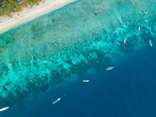 Foto op Aluminium Luchtfoto Aerial view of Gili Trawangan Island coastline with boats, West Nusa Tenggara, Indonesia