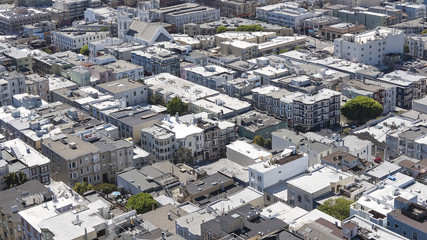 Vistas over the toy-like rooftops, homes and streets, aerial view of elegant neighborhood from Coit Tower, San Francisco, California