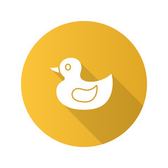 Rubber duck flat design long shadow glyph icon