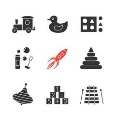 Kids toys glyph icons set