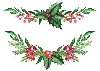 Set of Watercolor Festive Bouquets with Holly