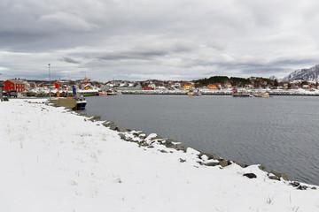 NE-wards view over fishing port-Laukvik village. Mounts Delpen-Bontinden-Sandsmelen background. Vagan-Austvagoya-Lofoten-Norway.0651