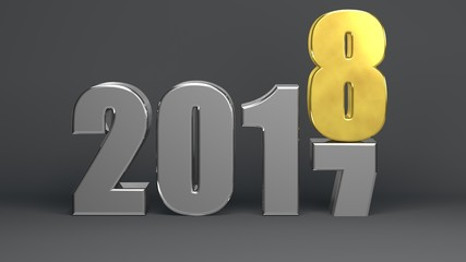 2018 happy new year metal text isolated, 3d render