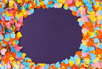 Round Confetti Frame On Slate - New Year, Carnival Party Concept