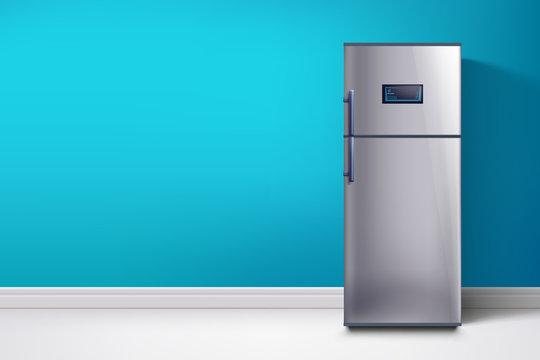 fridge at blue wall