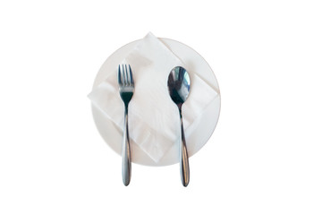 Empty flat plate with spoon