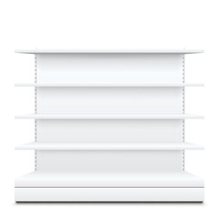 white shelves on white