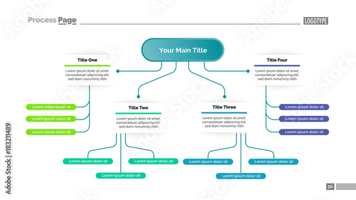 tree chart with four elements template fotolia com の ストック画像と