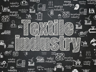 Industry concept: Chalk White text Textile Industry on School board background with  Hand Drawn Industry Icons, School Board