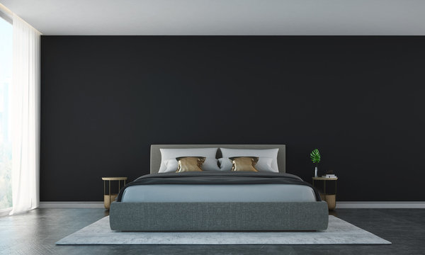 The interor design of minimal bedroom and concrete wall background / 3D rendering new model