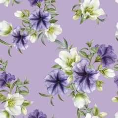 Floral seamless pattern with petunias and hellebore