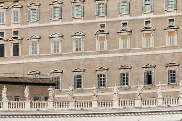 Pope`s window on Saint Peter`s Square in Vatican, Rome, Italy