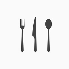 Set of fork, spoon and knife monochrome icon. Vector illustration.