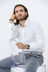 pensive groomed man