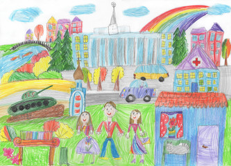 Child's drawing of the happy family on a walk and cars.