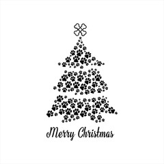 Christmas funny Tree greeting card design. Vector
