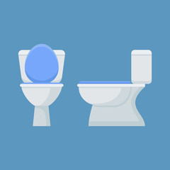 Toilet bowl isolated on blue background. Flat style icon. Front and side view. Vector illustration.