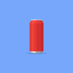 Red aluminum soda can isolated on blue background. Flat style icon. Vector illustration.
