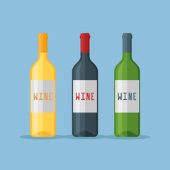 Set of wine bottles isolated on blue background. Flat style vector illustration.