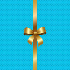 Tied Gold Bow with Ribbon in Center of Vector Blue