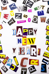 A word writing text showing concept of Happy New Year made of different magazine newspaper letter for Business case on the white background with copy space