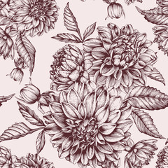 Vector floral seamless pattern with hand drawn dahlias