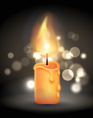 Magic Burning Candle with Flame Realistic Design