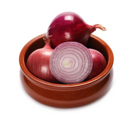 red onion bulbs and slice isolated on white background