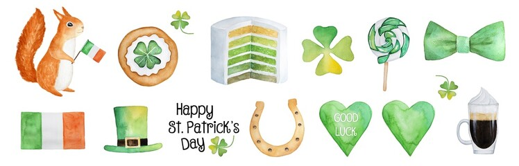Big Happy Saint Patrick's Day Illustration Collection. Lucky charms, sweets, traditional party symbols, card, banner, invitation, design template. Hand drawn watercolor, cut out, white background.