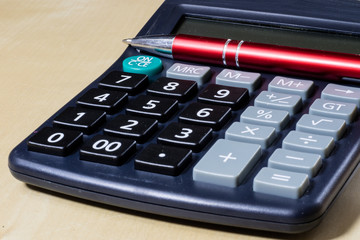 Bills, documents and papers with calculator. Office of the accounting office.