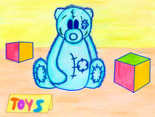 Taddy  bear and other toys. Kid's drawing