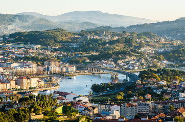 South side of the historical city of Pontevedra from an elevated viewpoint. Highway bridge icwe Lerez river Fototapete