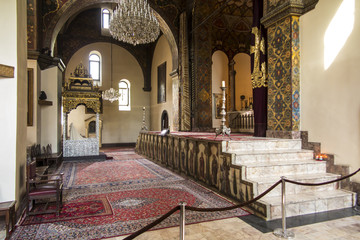 VAGHARSHAPAT, ARMENIA - SEPTEMBER 17, 2017: The interior of the Etchmiadzin Cathedral .