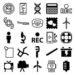 Set of 25 technology filled and outline icons