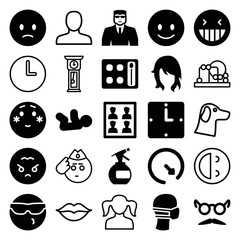 Set of 25 face filled and outline icons