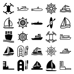 Set of 25 boat filled and outline icons