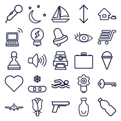 Set of 25 simple outline icons