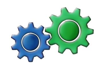 Engranajes de color verde y azul. Fototapete