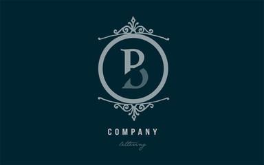 b blue decorative monogram alphabet letter logo icon design