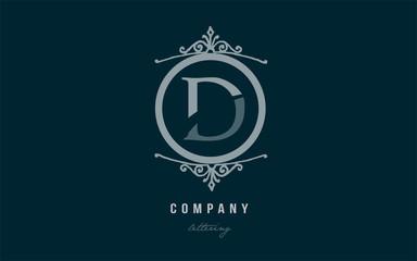 d blue decorative monogram alphabet letter logo icon design