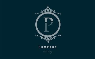 p blue decorative monogram alphabet letter logo icon design
