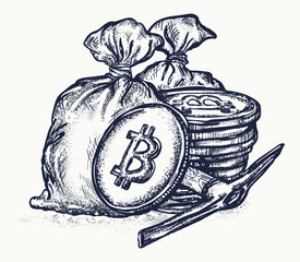 Bitcoin tattoo and t-shirt design. Cryptocurrency bitcoin mining symbol. Golden coins with bitcoin