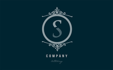 s blue decorative monogram alphabet letter logo icon design
